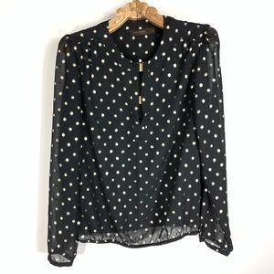 Black Gold Polka Dot Chiffon Top Gold Hardware Med
